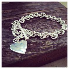 925 Sterling Silver   Heart Tag Bracelet