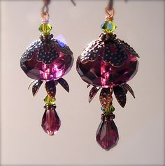 Purple and green earrings antique copper vintage look