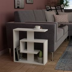 LaModaHome Modern Style Coffee Table White Modern Accessory Stylish Bold Functional Cocktail Table with Storage Best Choice For Quality For Home, Office, Living Room and Unique Shelves, Open Shelves, Table Cafe, Floor Shelf, Floor Lamp, Side Table With Storage, Modern End Tables, White Side Tables, Living Room Furniture