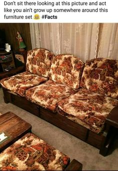 Back in the we had this in the basement with The paneling – retro Vintage Sofa, My Childhood Memories, Great Memories, 90s Childhood, School Memories, Fall Color Schemes, Fall Family Photo Outfits, Old Toys, The Good Old Days