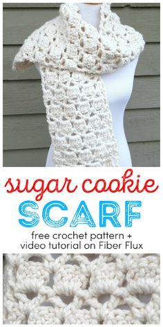 Sugar Cookie Scarf, free crochet pattern + video tutorial in Fiber Flux