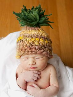 Tropical Pineapple Newborn Hat Gender by TinyToppersByTarah