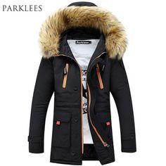 a594d34c414 Бренд Темно-парка Для мужчин 2017 зимняя куртка Для мужчин модные Дизайн  большой Мех животных с капюшоном Для мужчин  длинный пуховик пальто мужской  манто ...