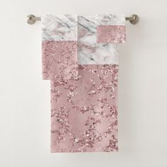 Shop Rose Gold Modern Glam Marble & Glitter Decorative Bath Towel Set created by printabledigidesigns. Personalize it with photos & text or purchase as is! Bath Towel Sets, Bath Towels, Bathroom Pictures, Bathroom Ideas, Bathroom Designs, Bathroom Hacks, Bathroom Styling, Gold Bathroom, Office Bathroom
