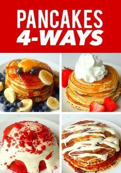 Pancakes 4 Ways. http://bzfd.it/1TeSdMd - Blueberry -Red Velvet with Cream Cheese Glaze - Nutella-Stuffed -Cinnamon Roll