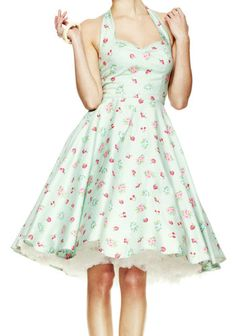 HELL BUNNY Bobbi Lee ~ Green Rockabilly 50s Swing Dress ~ ViNTagE PinUp CheRRies