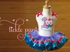 Owl Birthday Tutu Outfit- Bright pink, purple, turquoise- Includes top, RUFFLED TUTU- Can be made to match your party colors by TicklePants on Etsy https://www.etsy.com/listing/189678595/owl-birthday-tutu-outfit-bright-pink