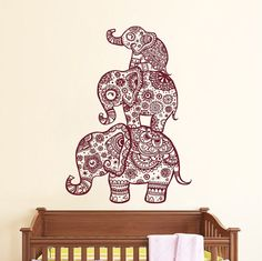 Wall Decal Elephant Vinyl Sticker Decals Home Decor Murals Indian Elephant Floral Pattern Mandala Tribal Buddha Ganesh Yoga Bedroom Dorm AL4