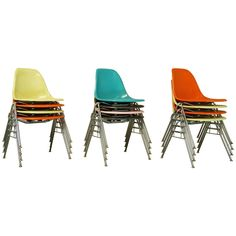 Vintage Mid-Century Eames Fiberglass Stacking Shell Chairs, DSS-N Side Chairs |