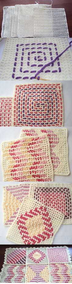 filet crochet + weaving makes a = super neat crochet technique  I know now what I'm doing with my scrap yarns! ^_^