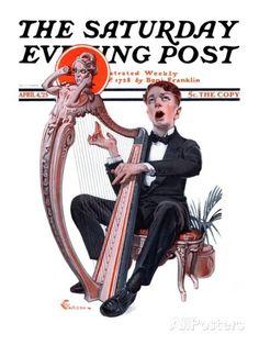 """Offkey Harpist,"" by Elbert Mcgran Jackson, April 4, 1925, The Saturday Evening Post."