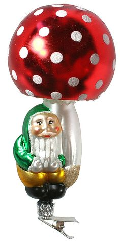 Blown glass clipping mushroom and gnome ornament from the Czech Republic