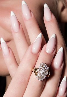 French manicure with pointed tips - Nail Art Gallery. My next look, minus the French tips...too uh...BORING!