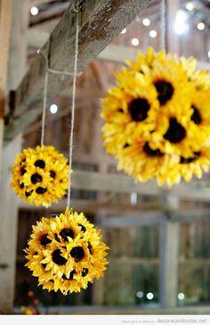 decoracion-boda-pompones-girasoles-diy