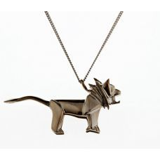 Origami lion - Black silver