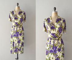 A great Spring print on a vintage 40s dress / Cynara floral by DearGolden, via Etsy.