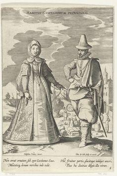 Paar, gekleed volgens de mode uit Portugal, ca. 1610, Pieter de Jode (I), 1600 - 1610