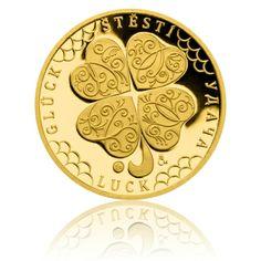Zlatý dukát Čtyřlístek pro štěstí proof | Česká mincovna Gold Money, Commemorative Coins, World Coins, Quatrefoil, Mint, Peppermint