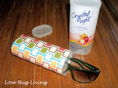 'Crystal Light' Container Crafts: Glasses case/holder. This could be used in the car for sunglasses & could even use some velcro (or some other stick-it material) to stick it to the dashboard, console, or visor.
