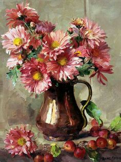 Chrysanthemums in a Copper Jug, by Anne Cotterill ~ Greetings Card published by Mill House Fine Art . Nature Paintings, Easy Paintings, Plant Drawing, Painting & Drawing, Oil Painting Flowers, Flower Paintings, Still Life Art, Arte Floral, Fine Art