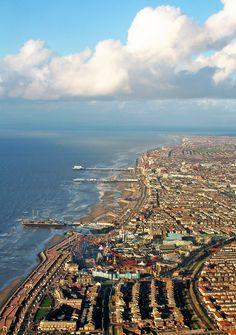 Blackpool is a seaside town along the coast of the Irish Sea in Lancashire, England
