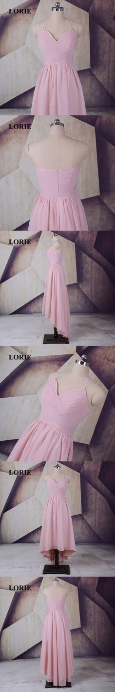 LORIE New Halter Pink Bridesmaid Dresses 2017 High Low Prom Dress Party Gown Pleats Chiffon vestido madrinha Free Shipping