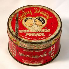 Vintage LUCKY HEART HAIR DRESSING POMADE TIN Black Americana Ethnic 1900s US