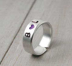 Stamped initial Ring Hand Stamped Ring by PureImpressions on Etsy, $18.00