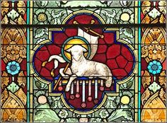 Agnus Dei (Lamb of God), stained glass panel from St. Peter's Cathedral in Rome.