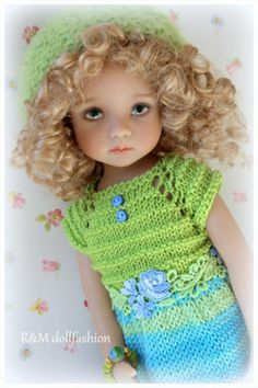 "R M Dollfashion OOAK Handknit Set for Effner 13"" Betsy McCall Kish BJD 14"" Dolls 