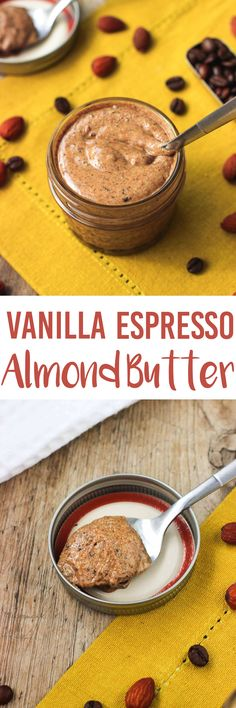 This vanilla espresso almond butter is a cinch to make at home - and much cheaper, too! Perfect for breakfast or a snack, and no added sugar or oil. mysequinedlife.com