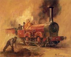 Train Drawing, Steam Art, Industrial Paintings, Steam Railway, Train Art, Railway Posters, Train Pictures, Steam Locomotive, Tile Art