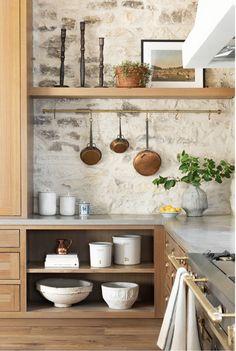 Joanna Gaines Shows Off the Set of Her Future Cooking Show Architectural Digest Kitchen Interior, New Kitchen, Kitchen Decor, Brick Wall In Kitchen, Stone Kitchen Backsplash, Earthy Kitchen, Natural Stone Backsplash, Rock Backsplash, Cosy Kitchen