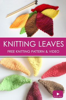 How to Knit a Leaf with and Easy, Free Knitting Pattern + Video Tutorial by Studio Knit.  via @StudioKnit