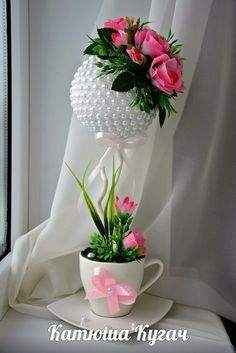 Amazing romantic flower decorations on valentines day 33 Flower Decorations, Wedding Decorations, Tassen Design, Floating Tea Cup, Topiary Centerpieces, Teacup Crafts, Romantic Flowers, Flower Crafts, Paper Flowers