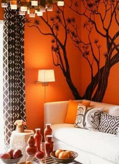 Attractive Home Decoration With Orange Living Room Brown Accent Decor