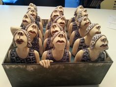 blikvanger cobalt- Ans Vink - her work just makes me smile Ceramic Figures, Clay Figures, Ceramic Clay, Ceramic Pottery, Arte Popular, Sculpture Clay, Polymer Clay Art, Illustrations, Art Dolls