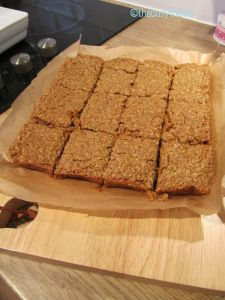 Flapjack Recipe from Lorraine Pascal's 'Baking Made Easy' cookbook Basically all you need is 175g of butter, 175g golden syrup, and 175g muscovado sugar. Gently melt this altogether and then add 350g porridge oats. Put in a lined square baking tin and bake at 150 degrees centigrade or Gas Mark 2 for 40 mins. Leave to cool for 15 minutes before removing from tin and cutting into 12 pieces.