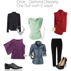 """""""Capsule dressing for a Circle or Diamond Body Type"""" by valarie-stock on Polyvore"""