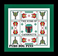 King of Carbonite Pattern/PDF - Boba Fett Cross Stitch Sampler - INSTANT DOWNLOAD