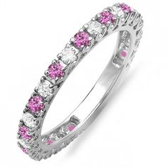 14K White Gold Pink Sapphire  White Diamond Eternity Sizeable Wedding Band Size 7 ** Want to know more, click on the image.