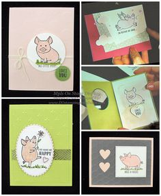 NEW Stampin' Up! This Little Piggy stamp set coming June 1 Stampin Up Karten, Stampin Up Cards, This Little Piggy, Little Pigs, Kids Birthday Cards, Stampin Up Catalog, Animal Cards, Paper Cards, Stamping Up