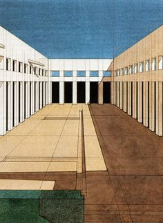 """""""I really like this 1969 Giorgio Grassi rendering. Imagining it suddenly populated by de Chirico figures"""""""