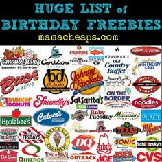 Birthday Freebies: Check out this MEGA LIST of all sorts of FREE STUFF you can get from stores and restaurants just because it's your birthday! Freebies On Your Birthday, Birthday Rewards, Birthday Club, It's Your Birthday, Birthday Wishes, Birthday Gifts, Free Birthday, Birthday Freebies Restaurants, Birthday Coupons