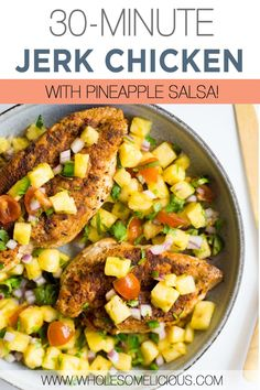 This super easy Jerk Chicken comes together with a simple rub and a hot skillet. You'll love the flavorful jerk seasoning with ingredients that you probably already have on hand! The pineapple salsa on top adds just the right amount of sweetness, tang, and flavor to compliment the chicken. This is such a delicious 30-minute dinner for a warm night. Paleo Recipes, Real Food Recipes, Chicken Recipes, Low Fat Low Carb, 30 Minute Dinners, Pineapple Salsa, Jerk Chicken, Whole 30 Recipes, Vegan Dinners