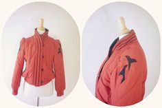 ON SALE-Vintage Red And Black Puffy Cropped Coat-Size M on Etsy, $48.00