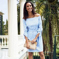 7a5d9966798 Our Tiegan Off-the-Shoulder dress is the perfect brunch attire. Pair it