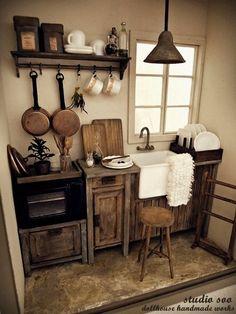 Dollhouse Miniatures -  Rustic - Kitchen