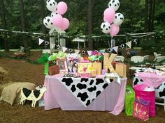 Cowgirl party decorations and centerpieces. The balloons, tablecloths, napkins and pink cowgirl sign are from hobby lobby Sheriff Callie Birthday, Rodeo Birthday, Farm Birthday, Cowgirl Party Supplies, Cow Birthday Parties, Birthday Ideas, Barnyard Party, Kids Party Decorations, Party Ideas