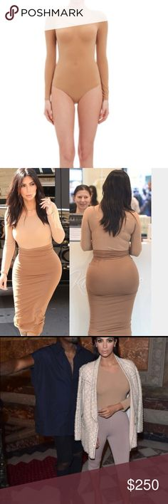 Wolford Bodysuit Camel color nude bodysuit from the wolford boutique in Copley, Boston! it is band new and in the box! I lost some weight before I got to wear it. It's sold out and gone everywhere in this color extremely rare color. As seen on Kim k hence why it is sold out! Wolford Other
